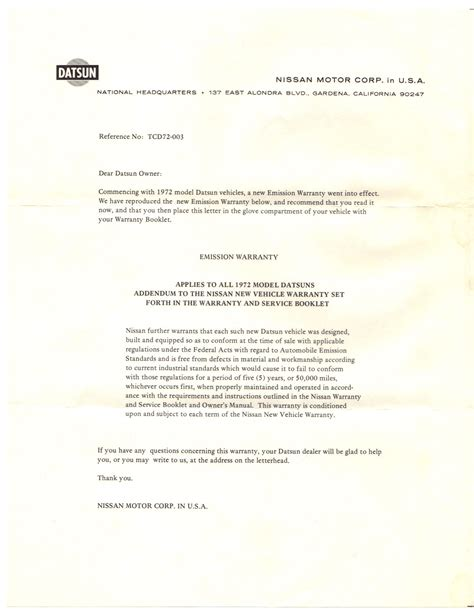 Material Guarantee Letter Sle Datsun Technical Articles Nico Club Autos Post