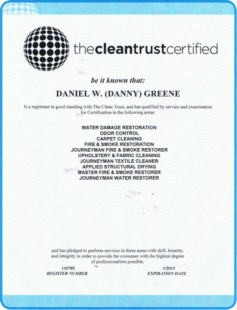 certifications danny s restoration and cleaning ta fl ta water damage restoration