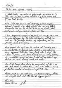 Apology Letter To Judge For Drink Driving Gable Tostee Scribbled Apology To Helped Secure His Bail Daily Mail