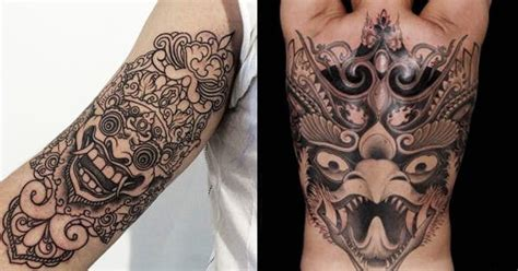 indonesian tattoo design 16 fabulous balinese mask tattoos tattoodo