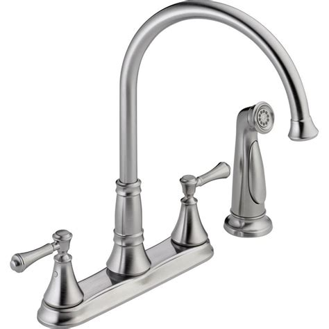 delta cassidy 2 handle standard kitchen faucet with side sprayer in chrome 2497lf the home depot delta cassidy 2 handle standard kitchen faucet with side