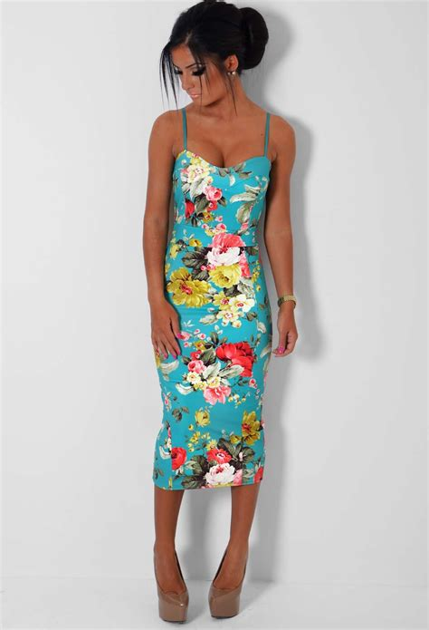 Flowery Bodycon Midi Dress luxana floral print bodycon midi dress pink boutique