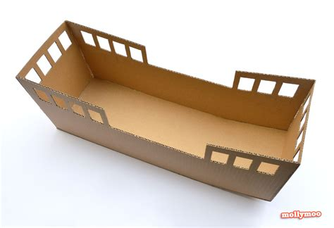 How To Make A Big Boat Out Of Paper - mollymoocrafts diy cardboard pirate ship craft tutorial