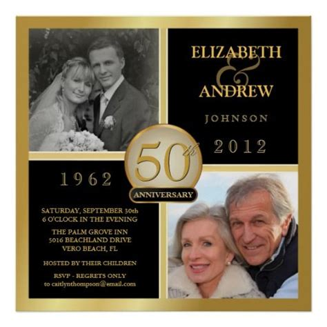 50th anniversary square poster 2 photos zazzle 50th anniversary ideas for my parents