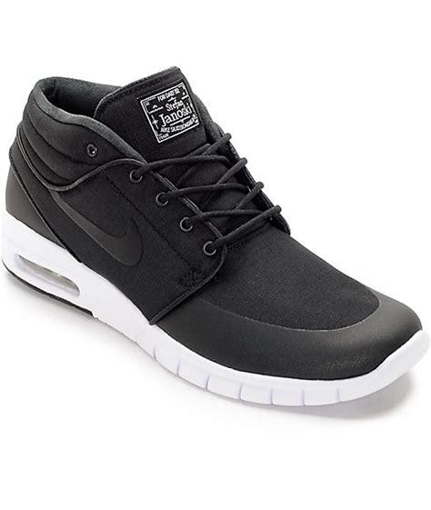 nike sb janoski max mid black white skate shoes at