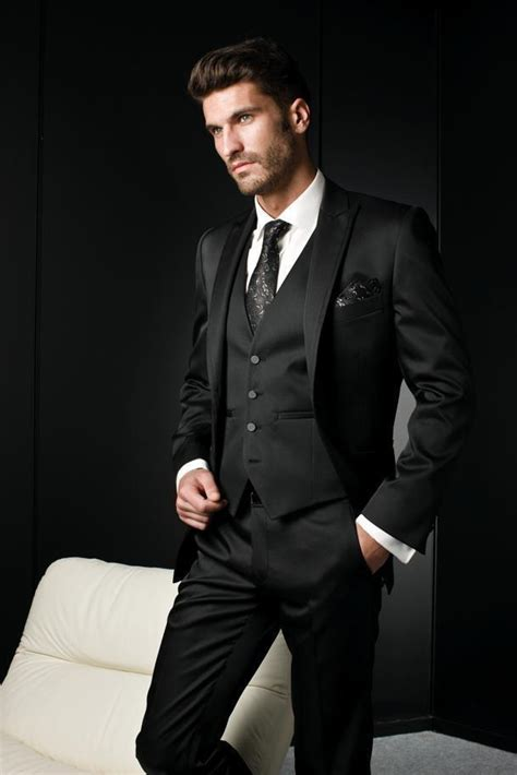 5 Pieces Slim Fit terno masculino Italian Style Suit Men Black Gangster Jacket Peak Lapel Trend