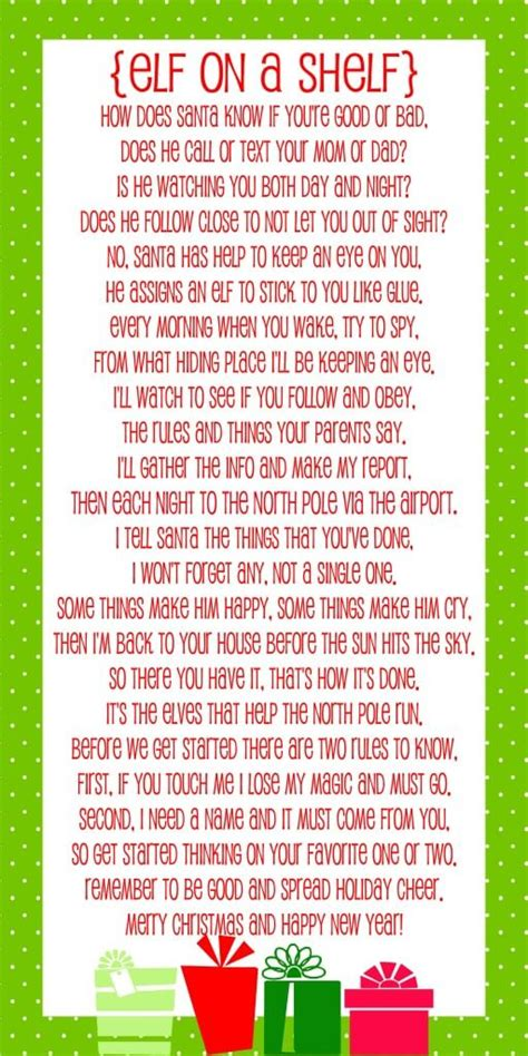 The Story On A Shelf by On The Shelf Story Free Printable Poem Lil