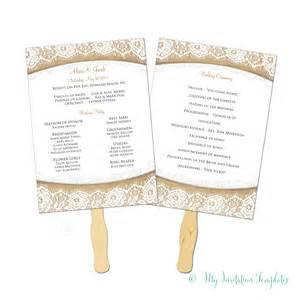 Wedding Programs Fans Templates by Burlap And Lace Rustic Wedding Program Fan Template