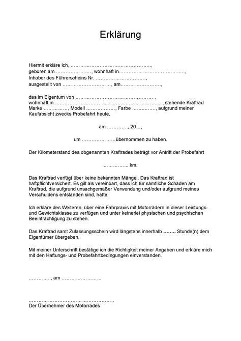 Motorrad Probefahrt Versicherung by Vorlage F 252 R Erkl 228 Rung Des 220 Bernehmers Bei Probefahrten
