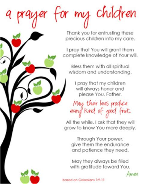free printable a prayer for my children mothering from