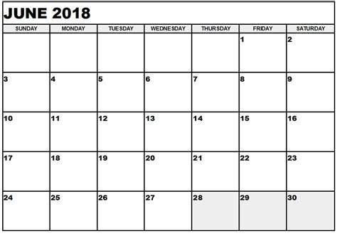 Printable Calendar 2018 To Write On | june 2018 printable calendar templates