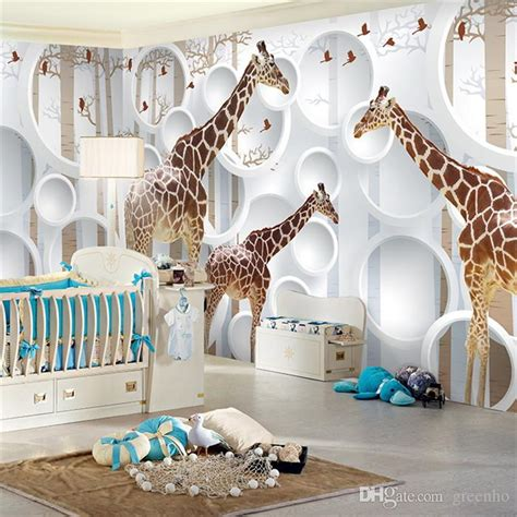 Zebra Print Wallpaper For Bedrooms unique 3d view giraffe photo wallpaper cute animal wall