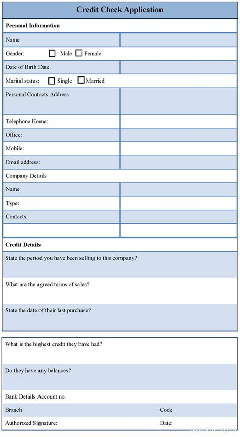 Credit Check Application Form Template Sle Credit Check Application Form Sle Forms