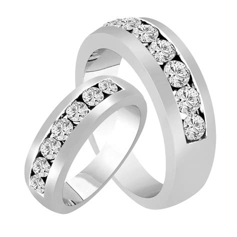 wedding rings diamond matching bands couple
