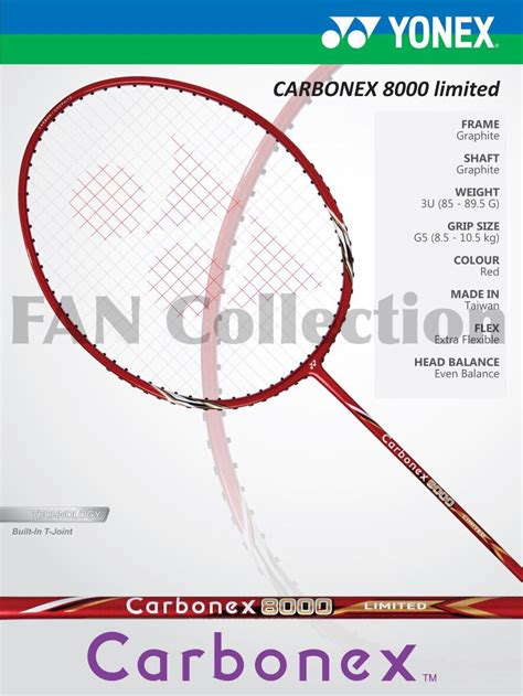 jual original raket badminton yonex carbonex 8000 limited fan collection