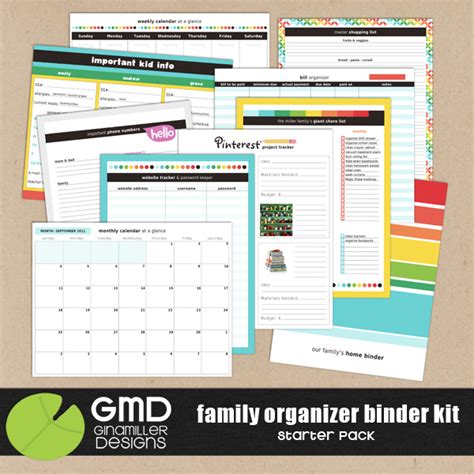 printable family organizer family organizer binder printables just b cause