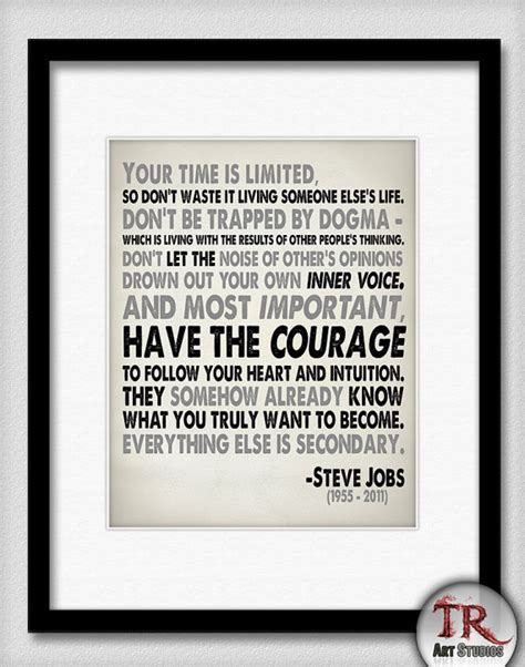 printable steve jobs quotes steve jobs quote in black and grey your time is limited