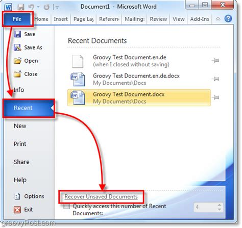 Word Counter Auto Save Option How To Recover Deleted Or Lost Word Files
