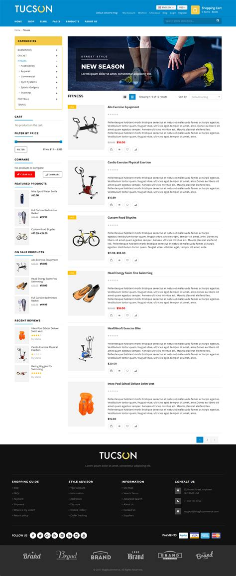 theme item list tucson sports store woocommerce wordpress theme by