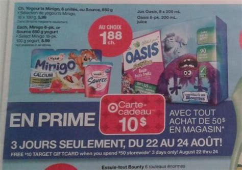Target 10 Gift Card When You Spend 50 - target canada 10 gift card when you spend 50 august 22nd 24th canadian