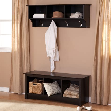 entryway hooks and bench prepac sonoma black triple cubby bench coat rack set