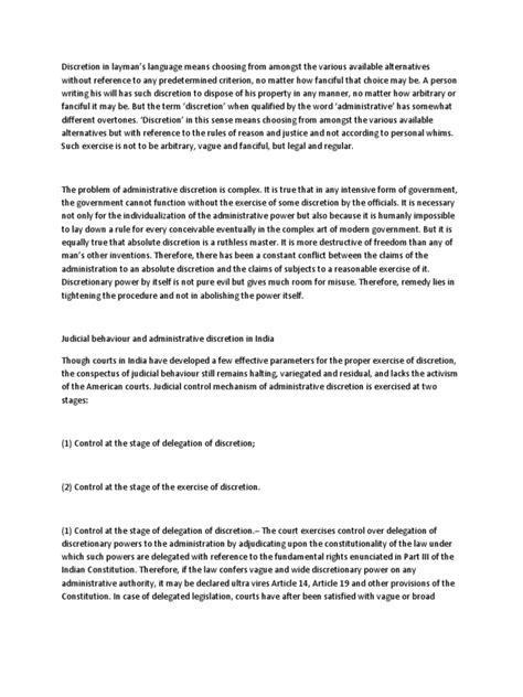 Administrative Discretion   Critério   Conceitos Jurídicos