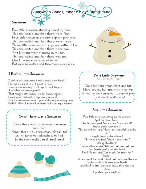 preschool songs fingerplays mrs home ec snowman preschool lesson