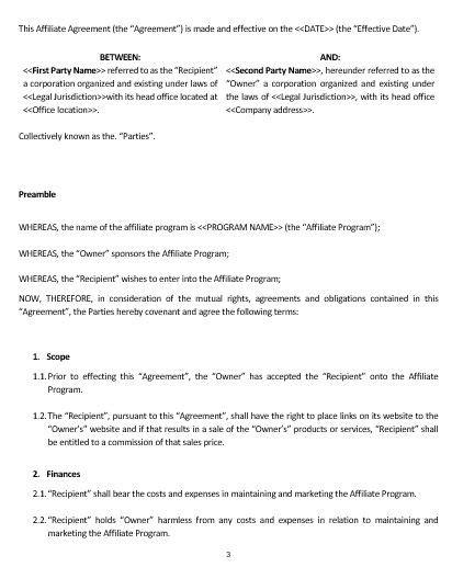 ne0160 affiliate agreement template english namozaj