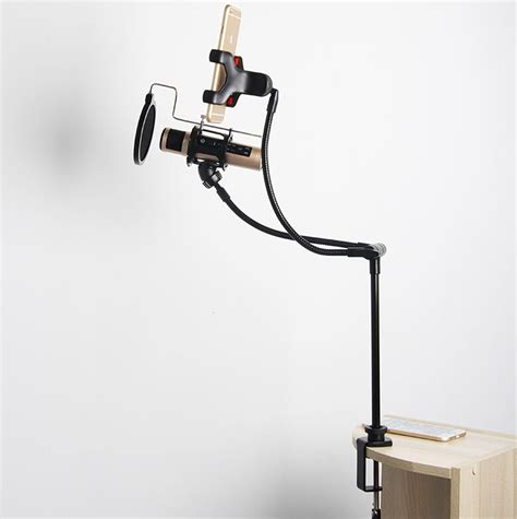 Stand Mic Fleksibel Neck Atau Spiral microphone stand lazypod with smartphone holder d12 black jakartanotebook