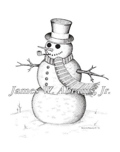 Drawing Pen Snowman 1 snowman pen and ink drawing by abramsink on etsy etsy