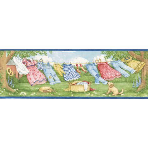 cat wallpaper borders murals shop allen roth 6 7 8 quot blue laundry breeze prepasted