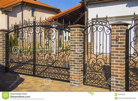 luxury fence design luxury wrought iron fence detail stock photo image 46631858