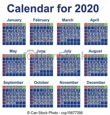 Calendrier Personnel Vecteur Clipart De Calendrier 2020 233 E Calendrier