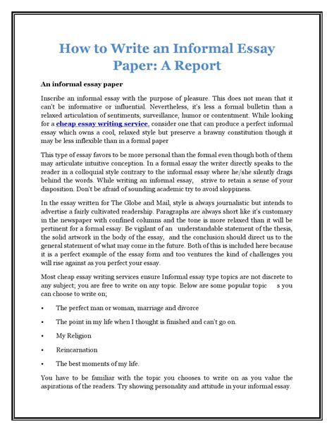 What Is Am Informal Essay by How To Write An Informal Essay Paper A Report By Justin