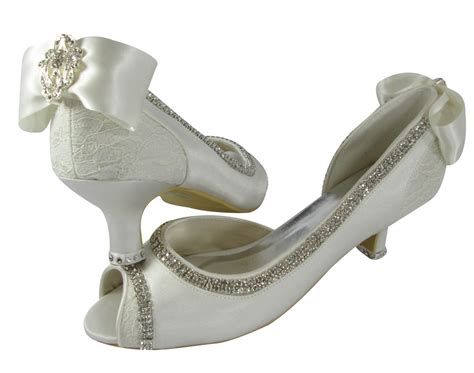 1 Inch Bridal Shoes by Ivory Wedding Heels Bridal Shoes 2 Inch 3 5 4 5 Peep Toe