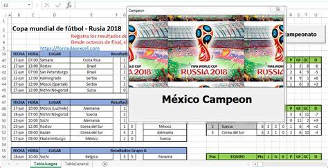 resultados mundial rusia 2018 calendario rusia 2018 en excel formulas excel