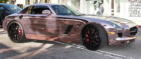 rose gold mercedes rapper tyga wraps sls amg in rose gold vinyl mbworld
