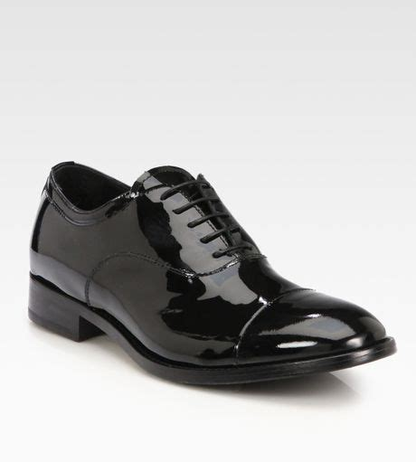womens black patent leather oxford shoes giorgio armani patent leather laceup oxfords in black lyst