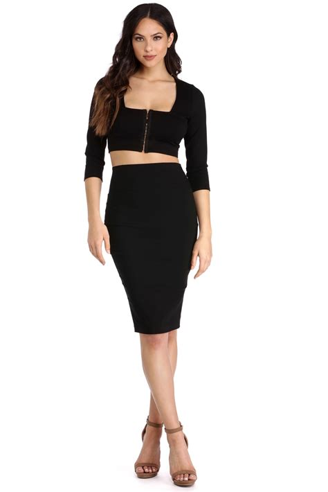 sale black high waisted pencil skirt