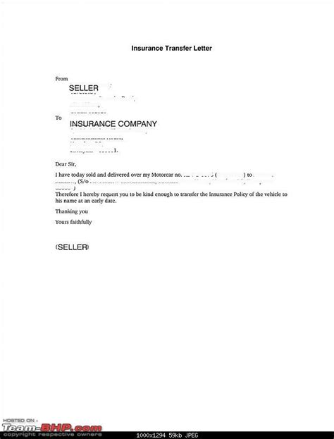 Letter Transfer Car Ownership Sle Letter Selling A Car Sle Business Letter