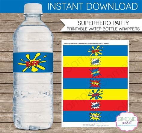 Superhero Party Water Bottle Labels Or Wrappers Instant Download Printable Birthday Party Water Bottle Wrapper Template