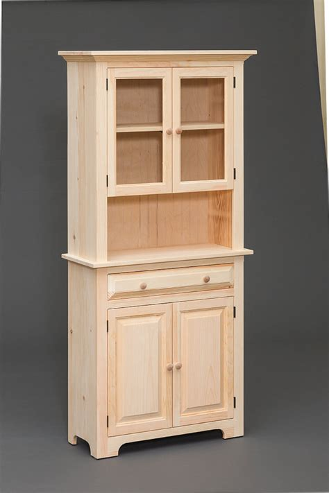 Unfinished Pine Cabinet Doors Amish Built Handcrafted Unfinished Pine Hutch By Valensfurniture