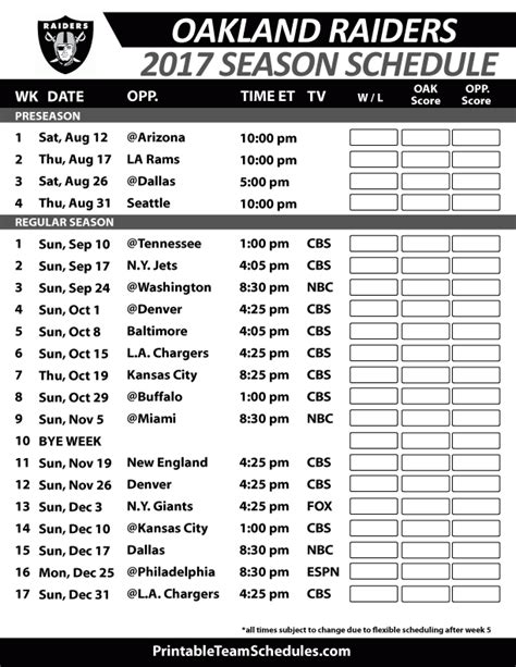 printable nfl schedule regular season 2017 oakland raiders football schedule 2017 nfl football