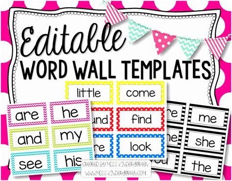 printable word wall template 10 printable word wall template etyio templatesz234