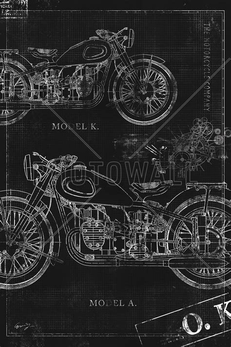 motorcycle wall murals motorcycle blueprint black wall mural photo