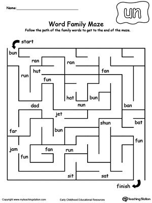 printable reading mazes ag word family maze myteachingstation com