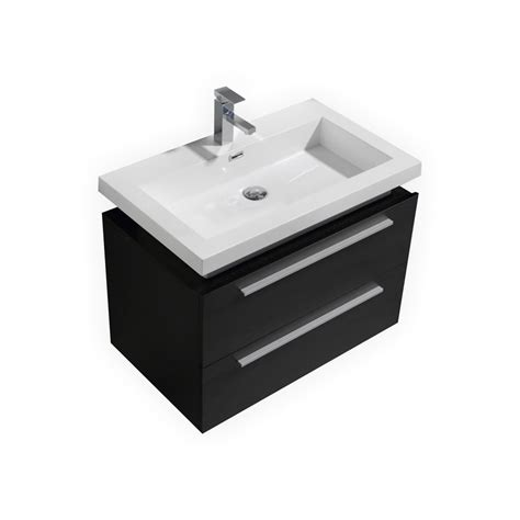 32 quot black wall mount modern bathroom vanity with vessel sink