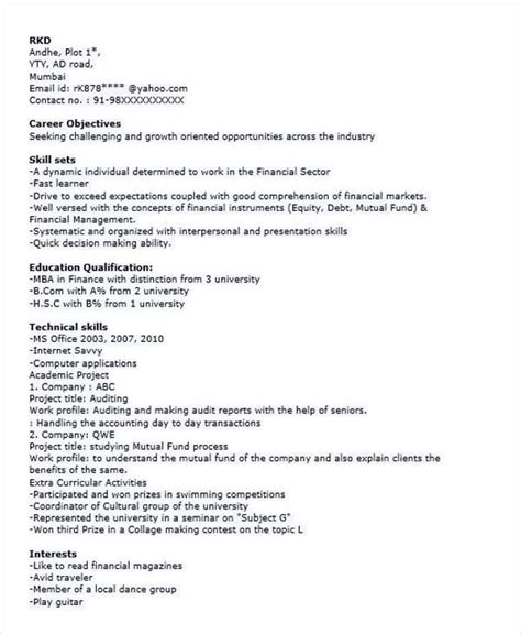 resume format for mba finance fresher templates 40 fresher resume exles