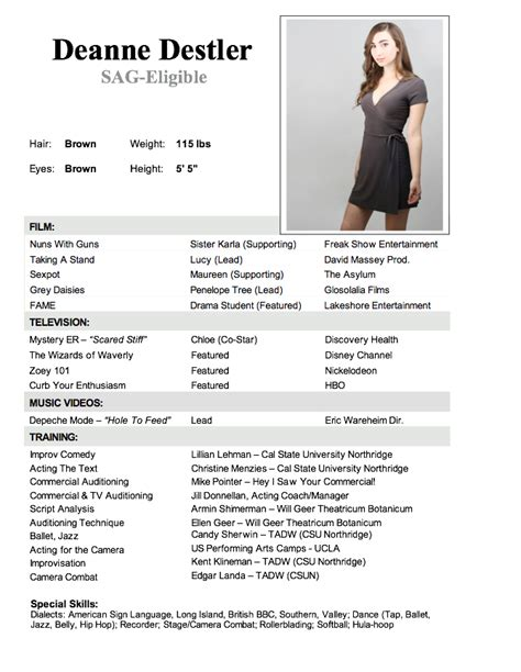 commercial actress resume acting resume template word