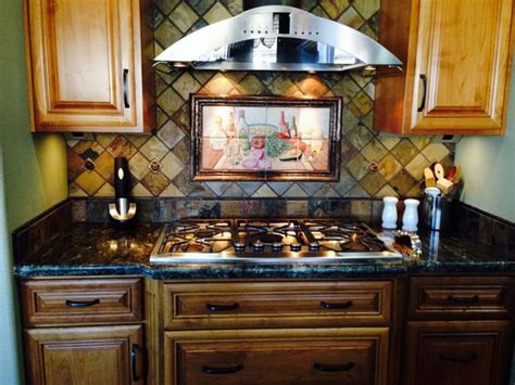 Mexican Tile Backsplash Kitchen Quot And Salsa Mexican Happy Hour Quot Painted Tiles Kitchen Backsplash Kitchen Other